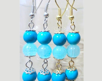 Turquoise & Light Blue Glass Bead Pierced Dangle Earrings, Handmade Original Fashion Jewelry, Bright Colored Summer Fun Simple Beach Style