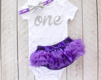 "First Birthday Silver Glitter ""one"" Bodysuit, Tutu Bloomer & Sequin Bow Headband in Purple - 1st Birthday Outfit - Cake Smash - Baby Girl"