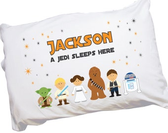 Personalized Jedi Pillowcase - Custom Galaxy Friends Pillow case Jedi Sleeps Here Pillowcases w name and Star Wars  Boys Bedding PILC-231