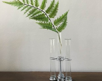 Test Tube Vase  / Vintage Test Tube Collection / Lab Test Tubes and Stand