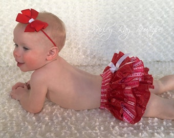 Parley Ray BE MINE Valentine's Day Heart Ruffled Baby Bloomers/ Diaper Cover / Photo Props