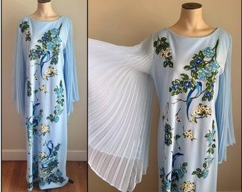 Vintage 1960s 70s Misses' Alfred Shaheen Maxi Dress Blue Bird Print 8 10 12