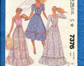 Vintage 1980 McCalls 7376 Prairie Chic Dresses Evening & Dancing Lengths with Sweetheart Necklines and Ruffled Tier Size 8 UNCUT