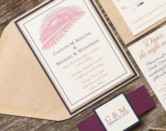 Barn Wedding Invitation, Country Wedding Invitations, Navy and Marsala Wedding Invitation package, Southern Wedding Invitations, Caitlyn