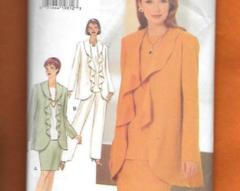 Vintage 1990's Butterick 3559 Misses' Ensemble, With Flutter Lapel Jacket, Skirt, Top, And Pants, Sizes 18-20-22, UNCUT