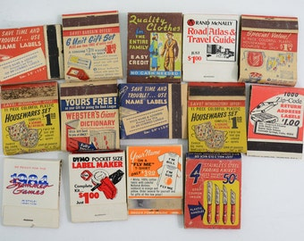 13 Mail Order Products Matchbooks LOT; Dymo, Webster Dictionary, Paring Knives, Rand McNally, Apron, Pen Pencil Set, Wallet