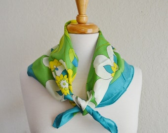 Vintage Mod Scarf Green Teal Yellow White Flowers Print Polyester