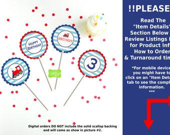 Train Party Circles - Train Cupcake Toppers - Choo Choo Train Toppers - Red and Blue Train - Digital & Printed Available