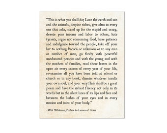 Walt Whitman Print - This Is What You Shall Do Print - Leaves of Grass - Whitman Print - Modern Print - Inspirational Print - Large Wall Art