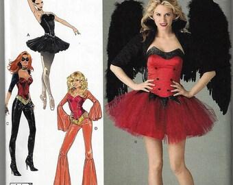 New Simplicity Costume Pattern #2067  Misses' 6-12 OR 14-22 Ballerina, Devil, Super Hero & Disco Corset Costumes Uncut Factory Folded
