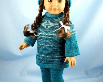 Doll Clothes 18 Inch - Knit/Fleece Tunic, Hat and Leggings - Will Fit American Girl Dolls - Three Piece Doll Outfit