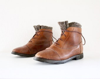 leather sweater boots/ 7-7.5