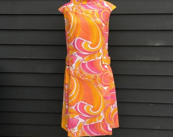 Bright color mini dress . Vintage 60s psychedelic mod scooter