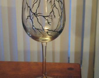 Hand painted lightning bolts wine glass