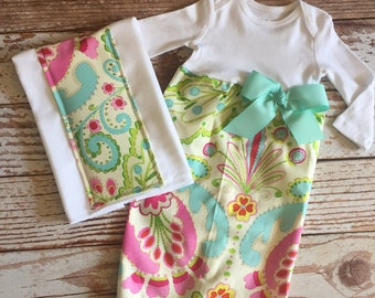 Baby Girl Gift Set - 2 Piece - Layette Gown with Burp Cloth - Baby Gown, Infant Gown, Layette - Kumari Garden