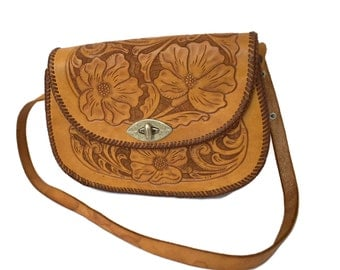 Hand Tooled Leather Purse Shoulder Bag Vintage Tooled Leather Bags 1960s Floral Tooled Leather Shoulder Bags