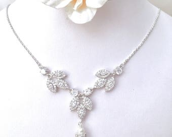 Wedding Bridal Necklace Pearl Teardrop White Gold Orchid Leaf Petal Cubic Zirconia Necklace