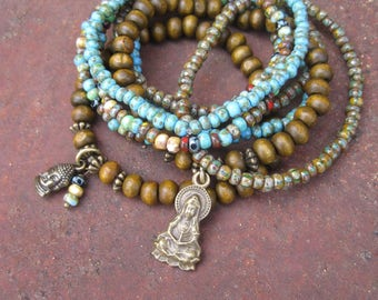 Bohemian Hippie Stacker Set of 8 Stretch Bracelets with Kwan Yin and Buddha Charms - Green, Brown and Turquoise Colored Bracelet Stacker Set