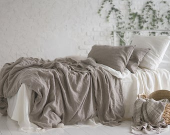 Flax Bedding Linen Set... Linen Duvet Cover and Pillowcase Gray Grey Twin Stonewashed Eco friendly - Custom size