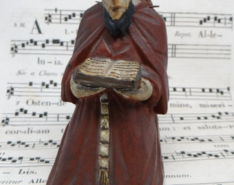 1800's Santos , Antique Hand Carved Kneeling Saint with Bible, Vintage Polychrome, Articulated Head