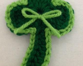 Crochet Shamrock Lapel Pin Pattern- St. Patrick's Day crochet pattern- Lucky shamrock- Wearing of the green- St Patricks Day