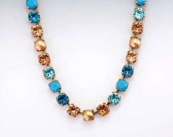 Turquoise Swarovski Crystal Necklace, Brown Rhinestone Jewelry, Teal and Brown Crystal Jewelry, Teal Swarovski Necklace Nickel Free, Ginevra