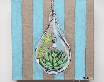 Original succulent painting air plant hanging still life terrarium