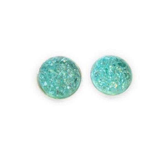 Teal Druzy Stud Earrings | Post Setting