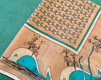 Vintage Whale Scarf Tan White Aqua Turquoise Teal Signed by MR EMPEROR Retro Preppy Moby Dick Hankie Hanky Seagulls Graphic Print Cotton
