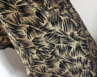 Vintage 80s fabric black gold Rock palm trees disco exotic crepe paper
