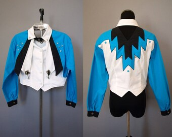 Vintage 80s 90s southwest western womens studded cut out top blazer vest size S small or M turquoise aqua blue