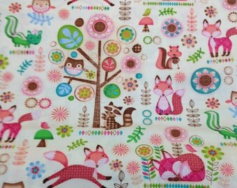 Owl baby fabric, baby quilt, baby forest animals,wall hangings, baby fox, by the yard, has cordinates and a panel to match, spx fabrics