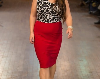Peggy Dress in Red and Leopard
