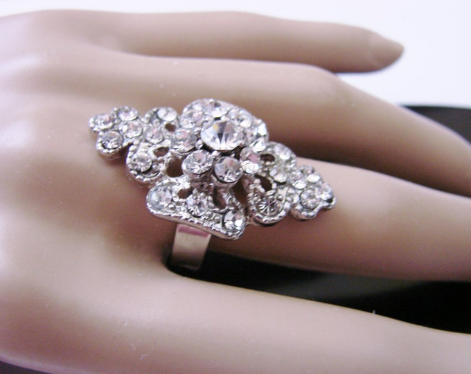 Vintage Rhinestone Cluster Cocktail Ring Wedding Formal Accessory Statement Adjustable