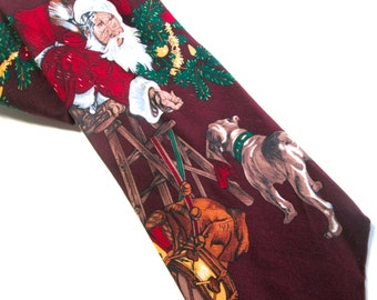 Vintage Christmas Necktie Norman Rockwell Saturday Evening Post Santa and Pitbull