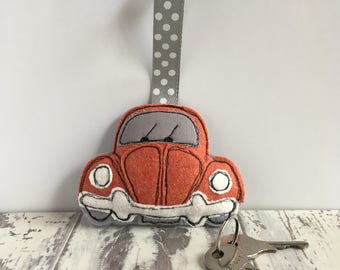 Orange vw beetle, VW beetle plush, Quirky Gift, Keyring Plush, Rustic Home Decoration, Unique VW Gift, Volkswagen, VW Beetle Hanging Decor,