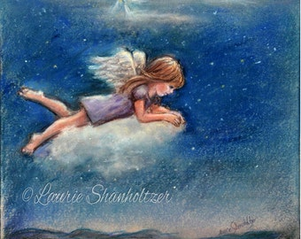 "Little Angel - ORIGINAL pastel painting -  ""Your Guardian Angel""  Christmas art, by Laurie Shanholtzer"
