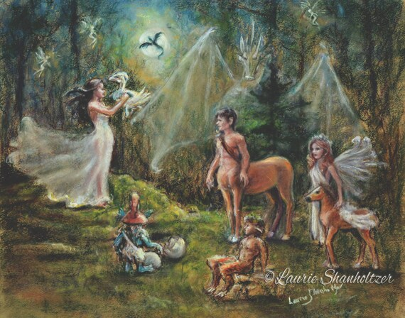 "Fantasy Magic, mythology - ORIGINAL pastel painting - ""Birth of a Dragon"" Centaur Faun Fairies pegasus, Laurie Shanholtzer 18x20"