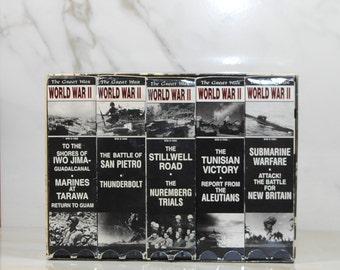 Vintage The Great War World War II Collection, VHS Tapes, 1994, San Pietro, Tunisian Victory, Iwo Jima, Submarine Warfare, Stillwell Road