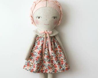 MADE TO ORDER - Light pink & gold doll. Rag doll. Linen and cotton handmade doll. Gift ideas for girls. Nursery decor. Heirloom doll