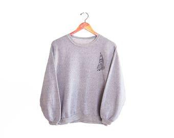 vintage sweatshirt / crew neck sweatshirt / thin / 1980s heather grey nautical sailboat sweatshirt Medium