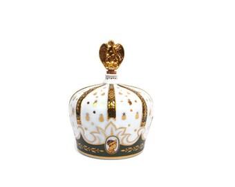 Vintage Limoges Porcelain Brandy Decanter Coronation Crown Sempe Armagnac Napoleon Bottle France Eagle Stopper 24k Gold Bees Green trim