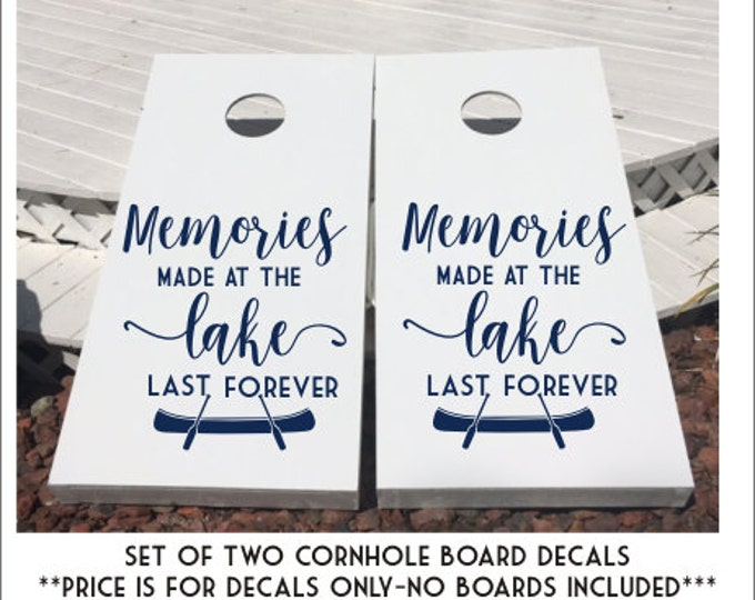 Lake Cornhole Decals Memories Made at the Lake Vinyl Decals for Cornhole Boards Custom Conhole Decals Lake Memories with Canoe and Paddles