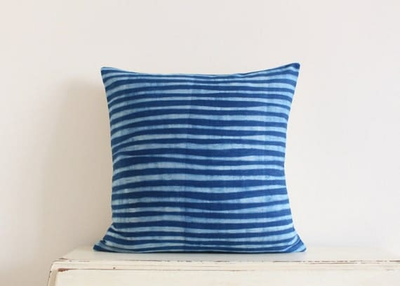 "REDUCED 25% OFF - Indigo Shibori pillow cushion cover 20"" x 20"""