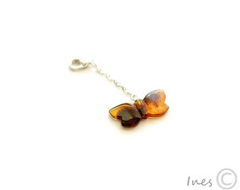 Baltic Amber Phone Charm Strap, Butterfly Amber Key chain