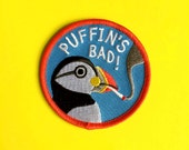 Funny Iron On Patch, Puffin Patch, Smoking Patch, Bird Embroidered Patch, Sew On Patch, Cute Animal Patch, Weird Patch, Stocking Stuffer