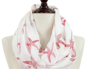 Infinity Starfish Print Fashion Accessory Scarf Sea Ocean Sealife Nautical Red