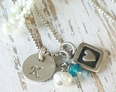 Personalized Initial and Heart Charm-Initial Necklace-Initial Charm-Heart Necklace-Initial Jewelry-Birth Stone Necklace