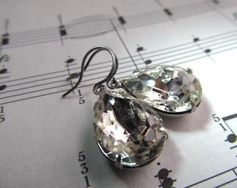 Art Nouveau Earrings 1920s Earrings Art Deco Earrings Vintage Crystal Earrings Miss Fisher Earrings Pear Earrings Teardrop Earring- Diamonds