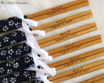 Personalised engraved chopsticks in Japanese fabric sleeves and ribbons (min 20 pairs)